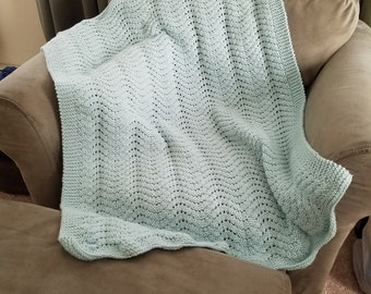 Pale green baby blanket