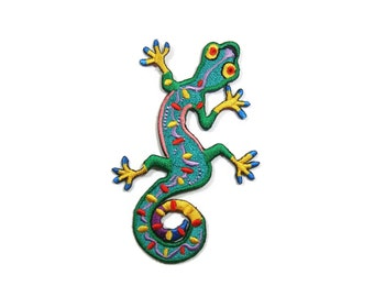 Salamander Gecko Lizard Embroidered Applique Iron on Patch 6 cm. x 9.5 cm.