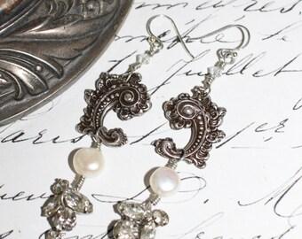 Paisley, earrings, vintage assemblage, rhinestone, stamping, freshwater pearls