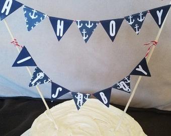 Nautical baby shower cake flag bunting