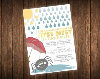 Itsy Bitsy Birthday Invitation - Itsy Bitsy Spider Kids Birthday Invitation