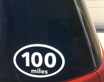 100 mile vinyl car window sticker