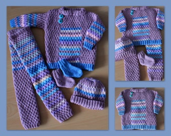 with hand-knitted children's jacket, trousers, hat and socks