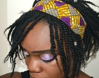 purple african wax print headband/hair accessories