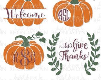 SALE! Pumpkin Monogram svg dxf, eps, jpg, png cut files, Let's Give Thanks SVG, Pumpkin SVG, Thanksgiving svg, Pumpkin Pattern Cut File