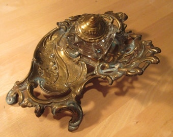Vintage brass and glass inkwell