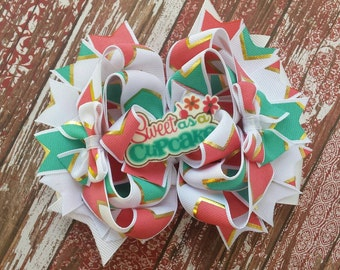 Sweet As a Cupcake stacked boutique bow. Coral/teal/gold