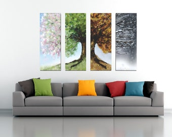 "Seasons Tree 4 Split Large Canvas (Spring, Summer, Autumn, Winter) Hand Stretched by artist, 50""w x 30""h (11x30 per panel, custom available)"