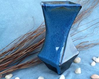 Handmade Blue Prism Vase