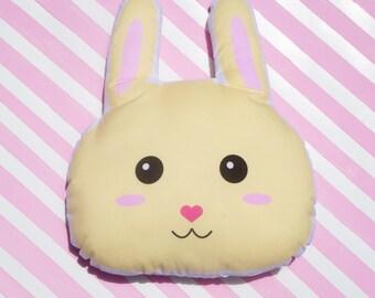 Bunny Pillow Plush -  Stuffed Bunny Face Cushion