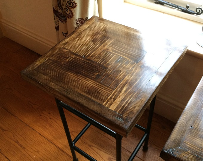 Pair of reclaimed scaffold and heavy iron tables