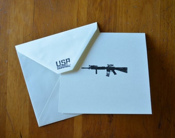 American M16 blank greeting card, set of five