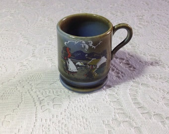 Vintage Wade Irish Porcelain miniature/ coffee cup with Irish girl and cottage design