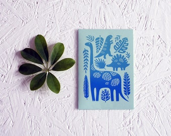 "Hand screen printed ""Huge reptiles"" gradient postcard (blue)."
