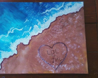 Personalized canvas painting 16x20 mounted