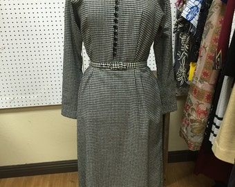 Long Sleeved Black Checkered Vintage Dress