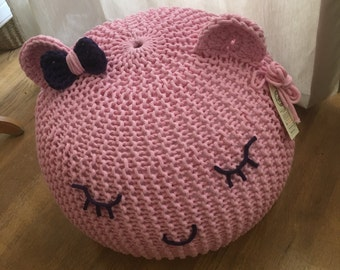 Knitted Pouf Pink For Childrens Seatottomanfootstool