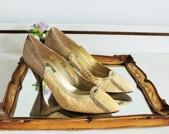 Vintage J Renee Yellow Lemon Gold Metallic Natural Snakeskin Cut Out Wedding Heels Shoes Size UK 4.5 EU 37.5 US 6.5