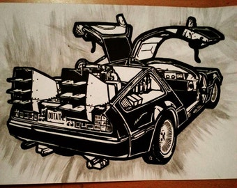 DeLorean, Back to the Future Inked Illustration.