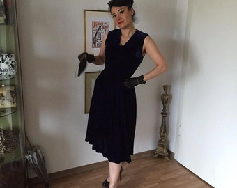 40s vintage dress-1940s dark blue panné velvet dress S-M