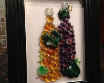 2 Piece Glass Fused Wine & Grapes Set