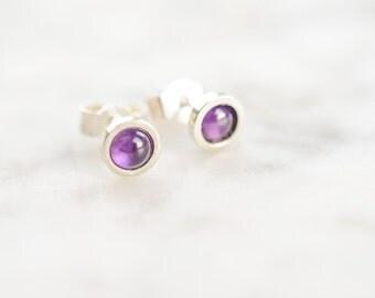 Amethyst Earrings - Stud Earrings - Gemstone Earrings - Ear Studs - Silver Earrings - Silver Studs - Crystal Earrings - Rustic Earrings