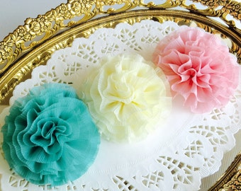 Baby girls hair clips chiffon flower pink beige mint flower girls hair clips flower hair clips baby hair clips baby barrettes