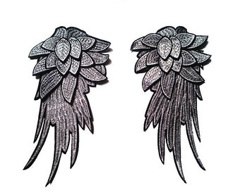 Pair of Wing Applique 27x14cm Silver Embroidered wings Angel Wings clothing accessories DIY lace wedding dress skirt cloth yarn