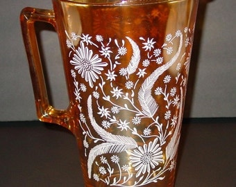 Vintage Jeannette Golden Iridescent Ice Tea Pitcher