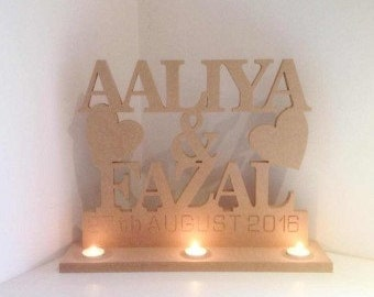 Freestanding MDF Personalised Names and Date Tealight Stand