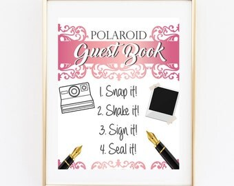 Polaroid Guest Book, Wedding Guest Book, 8x10 Instant Printable, Wedding Signs, Pink Photo Guest Book, Photo Guest Book