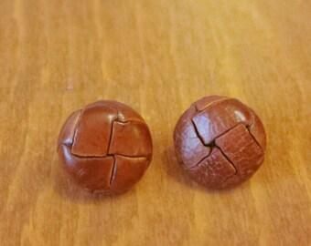 Vintage faux leather button earrings