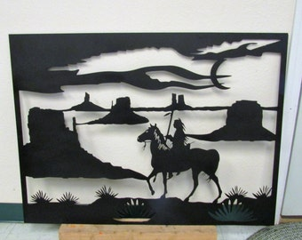 Desert Warrior, Metal Art, Southwestern, Native American, Handmade