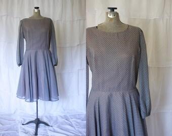 1970s Gray Polka Dot Dress // Vintage 70s Grey Dress // Long-sleeved Vintage Dress by Coco California