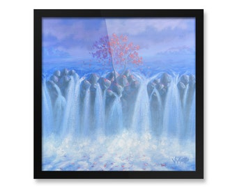 "Waterfall, Tree Painting, Wall Art, Framed Poster, 10x10"", 12x12"", 14x14"", 16x16"", 18x18"""