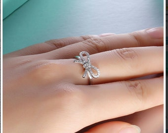 Bow Ring 925 Sterling Silver - Promise Ring - Bridesmaid Ring - Maid of Honor Ring - Friendship Ring