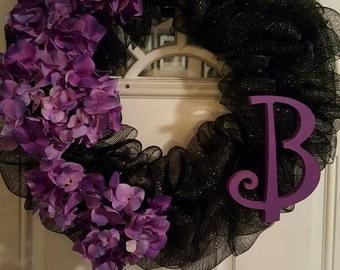 Black and Purple Mesh Wreath