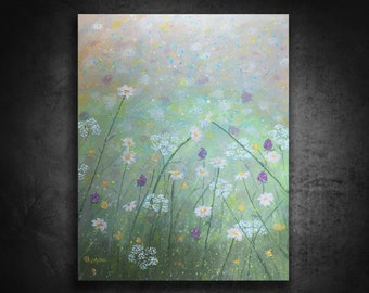 Original painting art abstract landscape contemporary canvas wall art 16x20 by Vanessa Multon