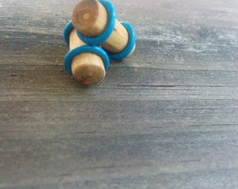 One pair Cherry Wood ear plugs handmade