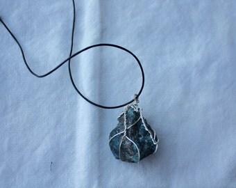 Blue Apatite Wrapped Stone