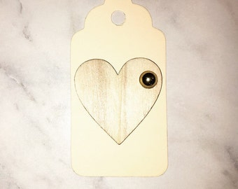 Large wooden heart gift tags