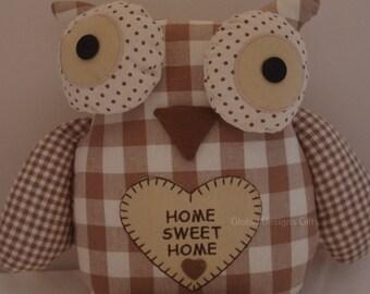 Doorstop Owl Cream Checked  Door stop  FD3591