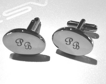 Personalized Silver Oval cufflinks with initials hand finished with cursive French cufflinks custom monogram