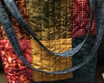 Quilted batik tote bag