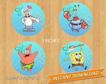 "Sponge Bob Square Pants Cupcake Toppers 3"", Instant Download, Digital File"