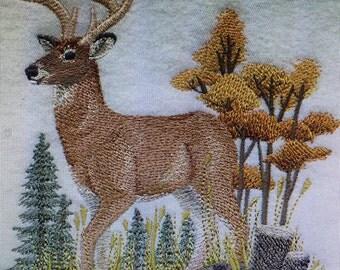 Embroidered Beautiful Autumn Deer Scene Shirt