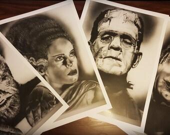 Set of 4 Universal Monster ART PRINTS