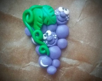 Happy grapes polymer clay fridge magnet