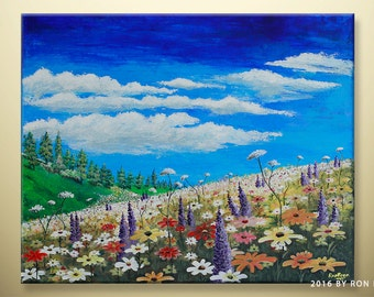 "Original Floral Spring / Summer Scenic Textured Acrylic Painting by artbyboon (20"" by 24"")"