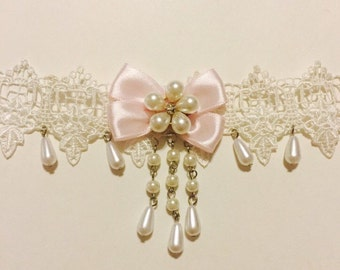 Victorian romantic Lolita pink silk bow, rhinestone, and pearl white lace choker